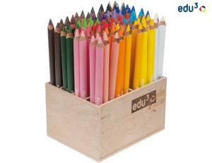 edu3 Prime Jumbo dreiflächig | 96 Buntstifte im Holzaufsteller