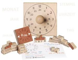 Holzstempel Kalender, Uhr und Zahlen   30-teilig