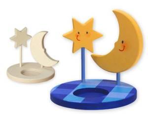 Teelichthalter Mond & Stern 3D