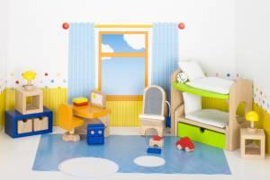 Puppenhaus-Möbelset klassisch   Kinderzimmer 28-teilig