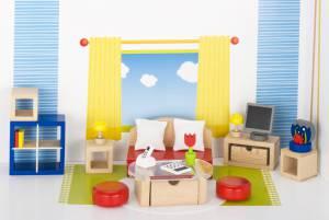 Puppenhaus-Möbelset klassisch | Wohnzimmer 28-teilig