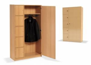 Garderobenschrank mit 5 Schließfächern