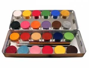 Schminkpalette 24 Farben mit Metallbox