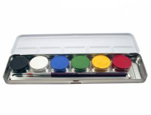 Schminkpalette 6 Farben in Metallbox