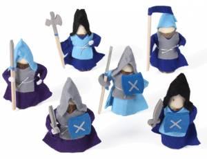 Holzfiguren Ritter Blau | 6-teilig
