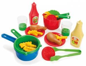 Kinderküche - Pommes, Hähnchen, Salat Küchenset, 28-teilig
