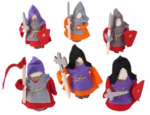 Holzfiguren Ritter Rot | 6-teilig