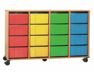 Materialcontainer mit 16 hohen Schüben | 4-reihig