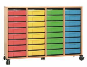 Materialcontainer mit 32 flachen Schüben