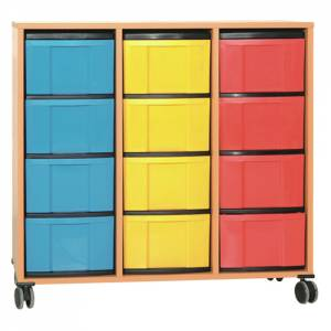 Materialcontainer mit 12 hohen Schüben | 3-reihig