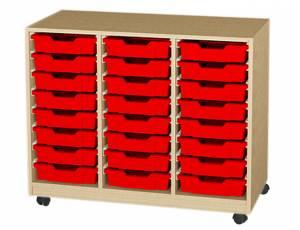 Materialwagen mit 24 flachen Kunststoffkästen