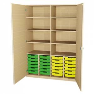 Materialschrank mit 24 flachen Kunststoffkästen