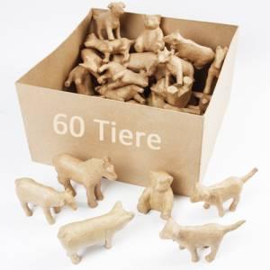 Pappmaché Tierfiguren - 60er Set mit 5 Motiven