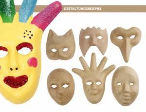 Pappmaché Masken 6er Set