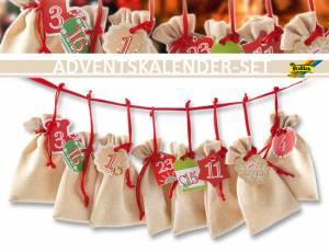 Geschenkbeutel Natur - Adventskalender-Set 49-teilig