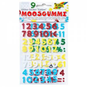 Sticker Moosgummi Glitter - Zahlen 100-teilig