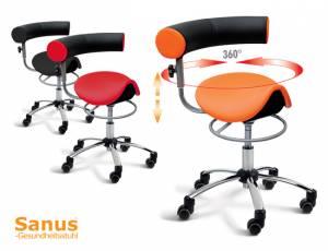 Sanus Gesundheitsstuhl mit Sattelsitz & höhenverstellbarer Rückenlehne