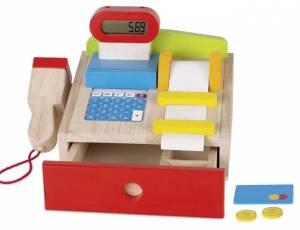 Kaufladen-Kasse mit Kassenrolle und Scanner