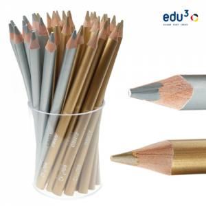 edu3 Jumbo dreiflächig | 36 Buntstifte in Gold und Silber