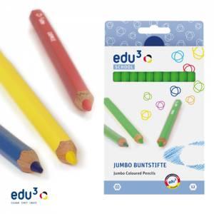 edu3 Jumbo hexagonal | 12 Buntstifte einer Farbe