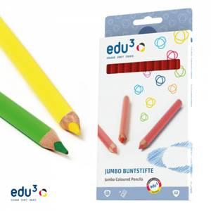 edu3 Jumbo dreiflächig | 12 Buntstifte einer Farbe