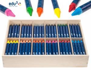 edu3 Wachsmalkreide Jumbo | Holzbox mit 144 Kreiden