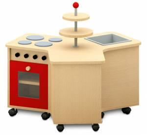 Kinderküche - Küchenrondell mit offenem Regalteil