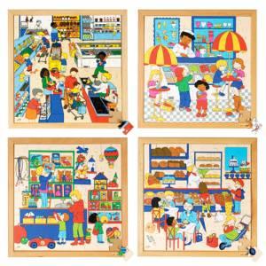 Holzpuzzle Einkaufen 4er Set