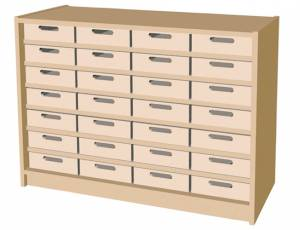 Eigentumsschrank mit 28 Materialkästen