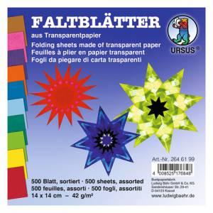 Transparentpapier Faltblätter 14 x 14 cm   500 Blatt in 10 Farben