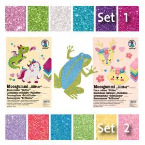 Moosgummi Glitter DIN A4 (selbstklebend) | 6er Set