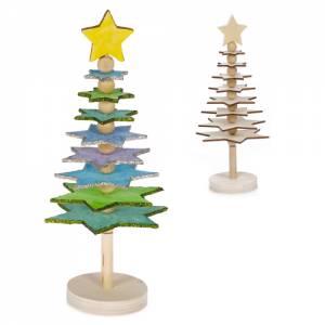 Tannenbaum aus Holz | Bastelset Sternenbäumchen 21-teilig