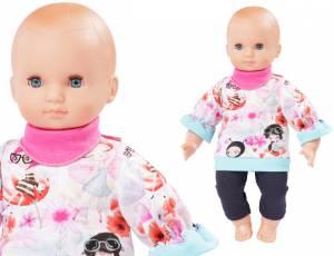 Babypuppe 40 cm mit Leggins, Shirt und Halstuch