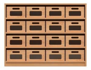 Materialschrank mit 16 Materialkästen (Acrylglasfenster)