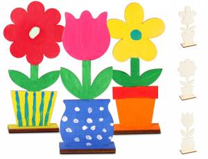 Holzaufsteller Blume 3er Set