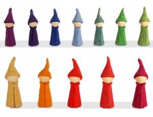 Bauspiel Farbkreis   Holzfiguren Gnome 12er Set