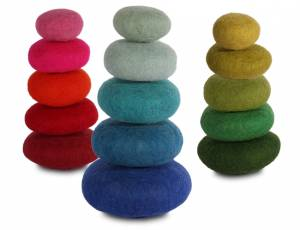 Bauspiel Farbkreis | Kieselsteine aus Filz - 15er Set
