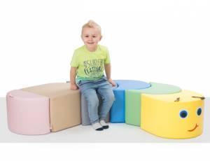 Sitzpolster Regenbogenraupe Pastell | 6 Teile