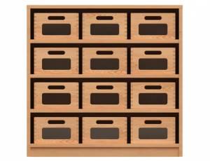 Materialschrank mit 12 Materialkästen (Acrylglasfenster)
