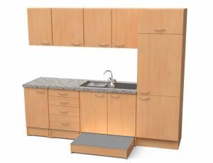 Küchenblock mit ausziehbaren Podesten