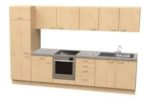 Küchenblock mit Kühlschrank und Herd mit Ceranfeld