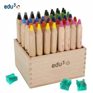 edu3 First | 48 Wachsmalkreide-Stifte im Holzaufsteller
