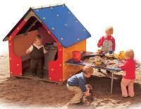 Spielhaus Tricolor mit Plansch- und Sandtisch