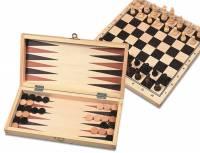 Schach, Dame & Backgammon | Holzspiel 30 x 30 cm