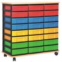 Materialcontainer mit 24 flachen Schüben | 3-reihig