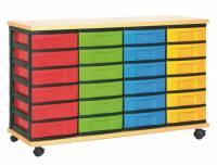 Materialcontainer mit 24 flachen Schüben | 4-reihig