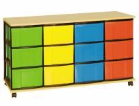 Materialcontainer mit 12 hohen Schüben | 4-reihig