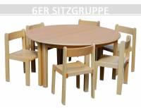 Sitzgruppe Kindergarten rund (2 Tische + 6 Stapelstühle)