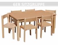 Sitzgruppe Kindergarten groß (Tisch + 6 Stapelstühle)