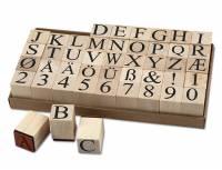Holzstempel Alphabet und Zahlen 45-teilig